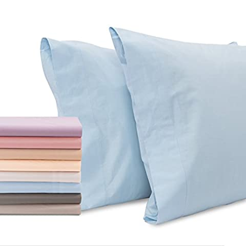 Superior Linen – Pillow Case 100% Cotton 200 Thread Count, Cool Breathable and Comfortable Pillow Covers (Set of 2) (Standard, - Blue Color Cotton