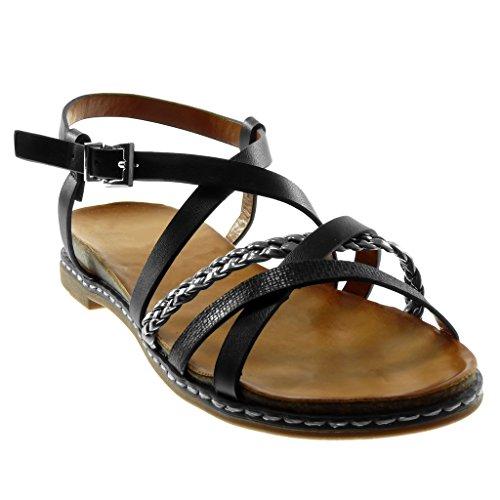 Briglia Cinturino Scarpe alla Intrecciato Multi Moda di Caviglia Donna 3 Sandali Nero Zeppa Serpente Angkorly Tacco Pelle cm con wzHqIOd