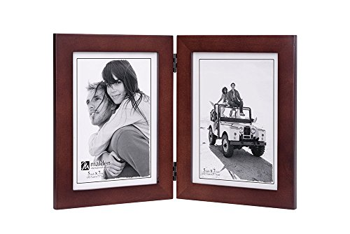 Malden Double Vertical 5x7 Picture Frame - Wide Real Wood Molding, Real Glass - Dark (7 Vertical Picture Frame)
