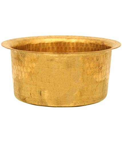 PLANET 007 Brass Patila Tope Topia Bhaguna Round Patila Cooking Pot Capacity 1 Litre Brass Tope
