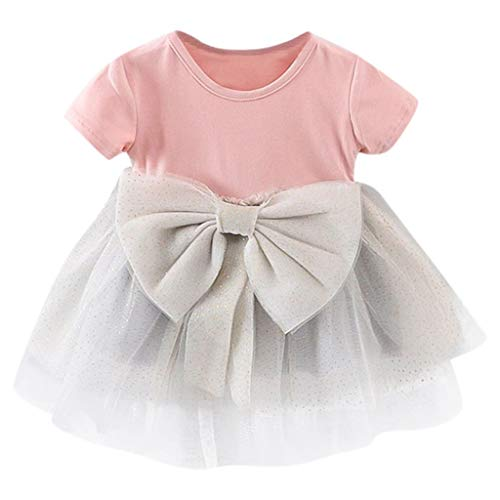 (AutumnFall Toddler Kid Baby Girls Solid Bow Dress Tulle Tutu Princess Party Dress for 3-24 Months (Age:3-6 Months, Pink) )