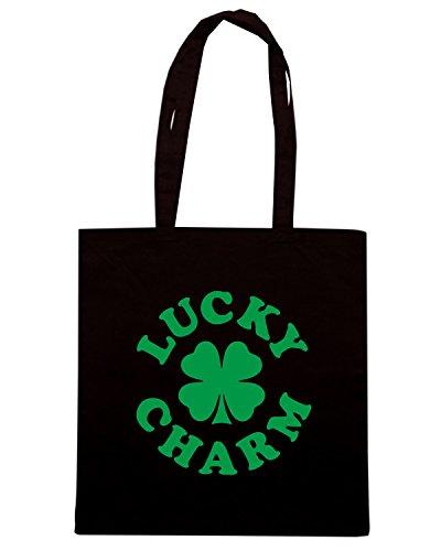 T-Shirtshock - Bolsa para la compra TIR0140 lucky charm 4leaf clover white tshirt Negro