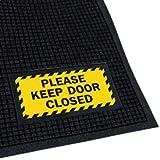 Polypropylene With Rubber Backing Waterhog™ Scraper/Wiper Sign Mats - Keep Door Closed - 4'w x 6'l, Dark Brown PLEASE KEEP DOOR CLOSED