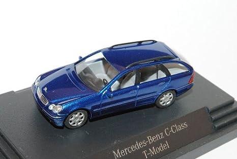 Busch Mercedes-Benz C-Klasse W203 T-Modell Kombi Blau 2000-2007 H0 1/87 Modell Auto mit individiuellem Wunschkennzeichen Modellcarsonline