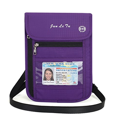 Forgun Fashion Travel Pouch RFID Blocking Purse Neck Wallet Cards Money Passport Holder (Purple)