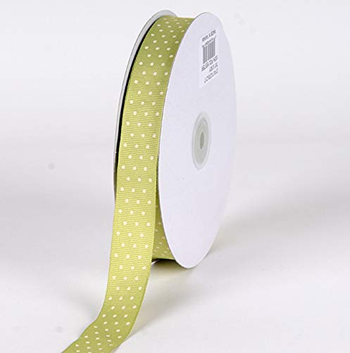 Fuzzy Fabric Swiss Dot Grosgrain Ribbon, Pear with Ivory Dots - [W: 7/8 Inch | L: 50 Yards] - Pear Wedding Cake Top