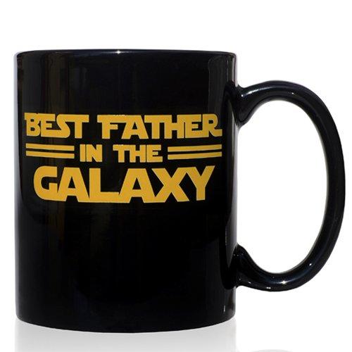 """Tasse mug Petit-déjeuner de céramique noire 32 cl. modèle """"Best Father in the Galaxy"""" langue anglaise"""