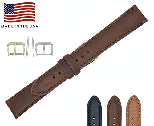20mm Long Brown Padded Sewn Montana Genuine Leather - Watch Strap Band - American Factory Direct - Gold & Silver Buckles - Made in USA by Real Leather Creations FBA31