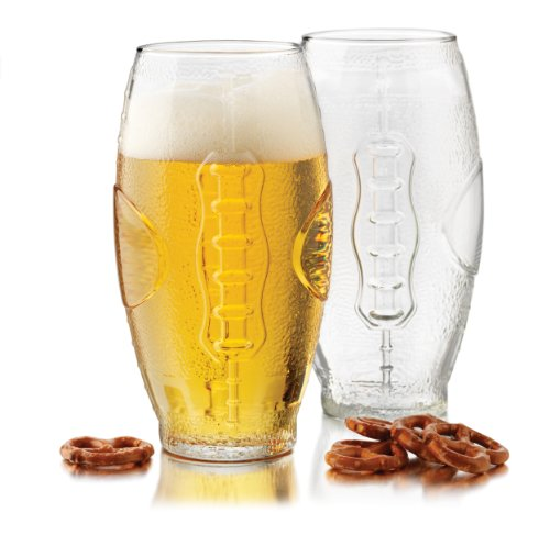 Libbey 23-Ounce Football Tumbler Beer Glass Set, 4-Piece -