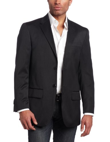 Louis Raphael Men's 2 Button Side Vent Wool Blend Suit Separate Jacket, Charcoal, 48 Regular Two Button Wool Suit