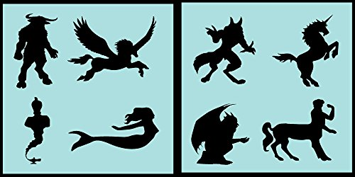 Auto Vynamics - STENCIL-MYTHICALSET01-10 - Detailed Classic Mythical Creatures Stencil Set - Everything From Minotaurs to Mermaids! - 10-by-10-inch Sheets - (2) Piece Kit - Pair of Sheets