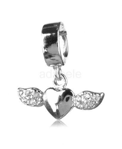 Swarovski Crystal Shining Beads (Sterling Silver Shining Heart Of An Angel Flying Heart Charm Bead Swarovski Crystal #EC72)