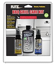 Flitz BBQ Grill Care Kit w/Liquid Metal Polish, Stainless Steel Cleaner, Stainless Steel Polish & Microfiber Cloth