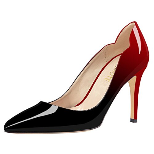 Heels Pumps Zesj for Classic Toe Women's Pointed Dancing amp;black Dress MERUMOTE Red Wedding Middle qX8TfFWw