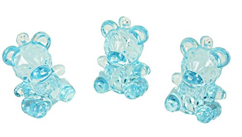 Bear Crystal Baby (Party Favors Plus 72 Mini Crystal Like Transparent Baby Shower Bears - Blue)
