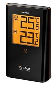Oregon Scientific EW91 - Termómetro int/ext, incl. sensor remoto EW99, alerta por hielo, color negro