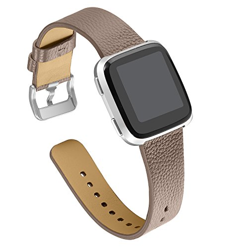 bayite Leather Bands Compatible Fitbit Versa, Slim Wristband Replacement Accessories Fitness Classic Straps Women Men, Tan