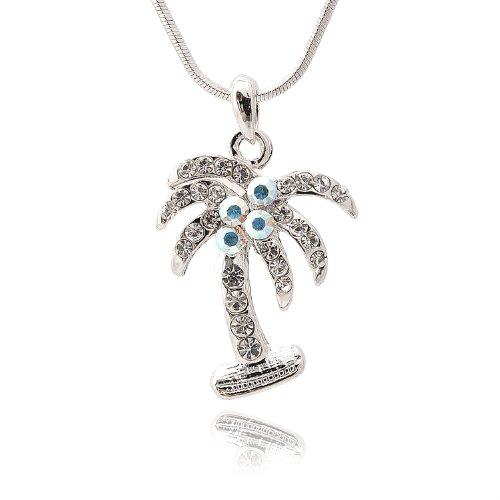 Spinningdaisy Silver Plated Crystal Palm Tree (Tiffany Palm Tree Necklace)