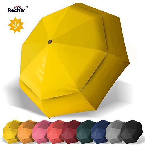 RECHAR Windproof Large Travel Umbrella 一 52 inch Automatic Unbreakable Umbrella, Men&Women Totes Umbrella, 1-Year Quality Warranty No Refund ... (Yellow-2)