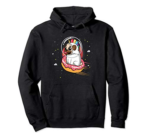 Pug in Rainbow Unicorn Costume riding Donut in Space  Pullover -