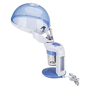 Z ZTDM Portable 2 in 1 facial Hair Steamer Machine with Bonnet Hood,Mini Table TOP Face Steamer --400W,Hot Ozone Mist,Rotating Nozzle,Aromatherapy,Personal Home Use Salon SPA Quality