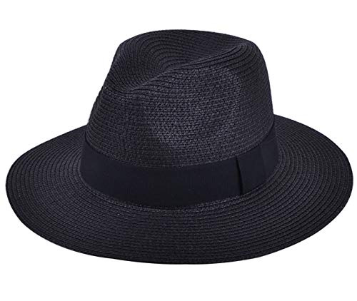 Lanzom Women Wide Brim Straw Panama Roll up Hat Fedora Beach Sun Hat UPF50+ (A-Black)