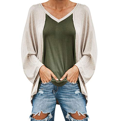 (Women's Long Sleeve V Neck Casual Patchwork Tops,AmyDong Ladies Loose T-Shirt Blouse Army Green)