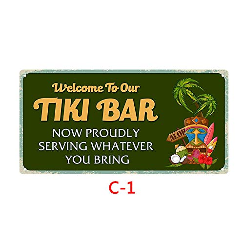 Novelty Funny Sign Tiki Bar Vintage Retro Metal Tin Sign Wall Sign Plaque Poster for Home Bathroom Road Cafe Bar Pub,Wall Decor Car License Plate Souvenir 3-21