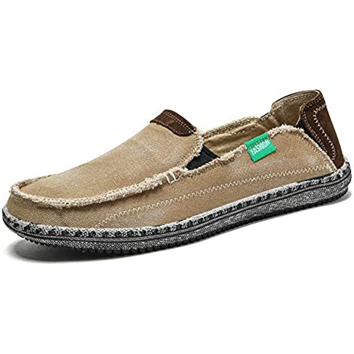 Men's Slip on Deck Shoes Loafers Canvas Boat Shoe Non Slip Casual Loafer Flat Outdoor Sneakers Walking