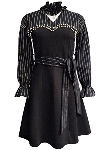 Coolred-femmes Sexy Taille Épissures Rayé Mini Robe De Soirée Club Classique Noir