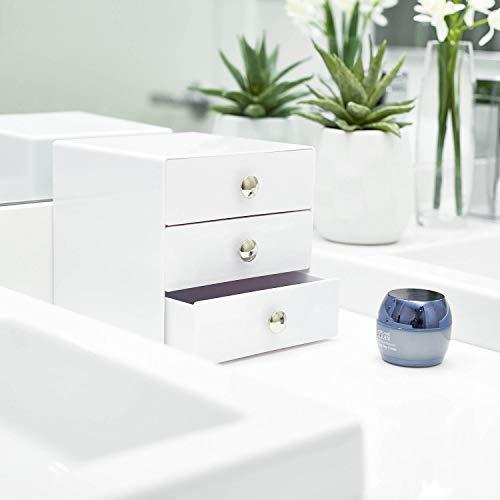 iDesign Organizador de maquillaje con 3 cajones, compacta minicómoda de plástico, mini cajonera cuadrada para productos de belleza y cosméticos, ...