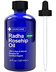 Radha Beauty USDA Certified Organic Rosehip Oil, 100% Pure Cold Pressed - Great Carrier Oil for Moisturizing Face, Hair, Skin, Nails - 4 fl oz