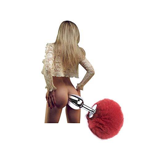 Cola de Conejo Peluda roja B-utt an-al Pl-ùg, Juguetes para Adultos para Mujeres y Parejas Principiantes (S-2 8cm)