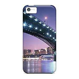 High Impact Dirt/shock Proof Cases Covers For Iphone 5c (a Bridge At Night Into St Louis)
