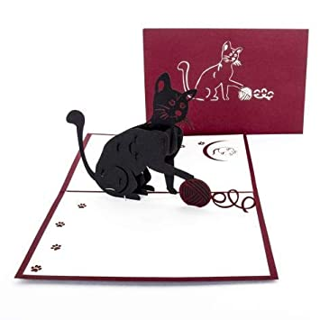 Black Cat Pop Up Card 3D CARD Voucher Invitation Birthday For Lovers