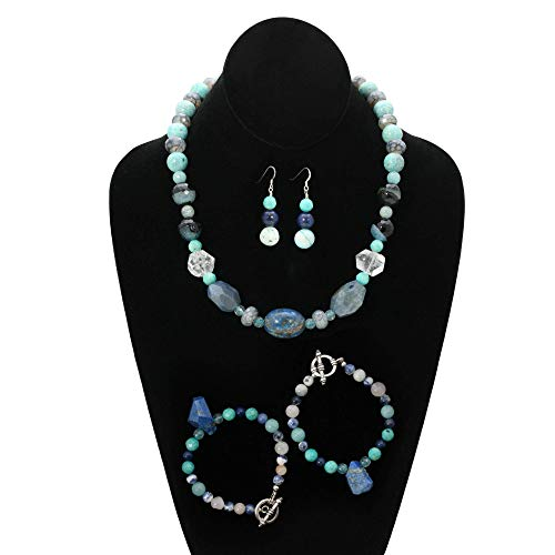Very special art jewelry. Handmade lapis jewelry set with a necklace, two bracelets and matching dangle earrings. Lapis, crystal, malichite, blue topaz and mixed gemstones. One of a ()