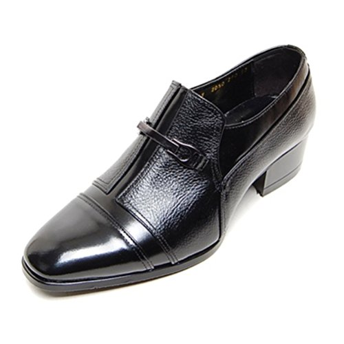 EpicStep Men's Black Genuine Leather Shoes Stylish Dress Formal Business Casual Oxfords Loafers 9.5 M (Black Genuine Leather Shoes)