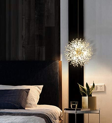 Dellemade DD00861 Plug in Sputnik Chandelier 8-Light Golden Luxurious Pendant Light for Bedroom, Living Room, Dining Room