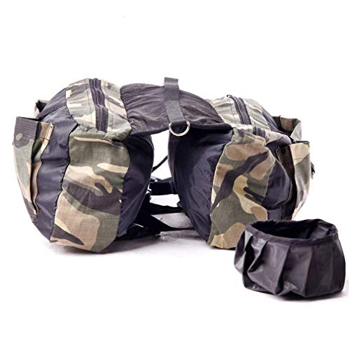 K9 Saddle Bags Dog Harness Backpack Dog Saddlebags Dog Pack Large Camouflage Print with a Dog Bowl for Outdoor Travel Training Made of Breathable Oxford Cloth Durable Air-Permeable and Comfortable ()