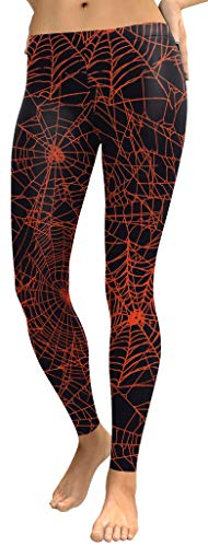 For G and PL Halloween Women Casual Funny Costume Spider Web Stretchy Leggings L]()