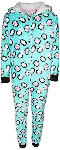 Rene Rofe Girl's Plush Fleece Onesie Pajamawith Sherpa Lined Hood, Light Blue Penguins, Size 7/8'