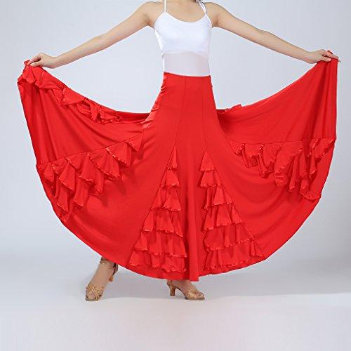 Elástico Para Maxi Verano De Volante Rojo Vestido Playa Latino Elegante Cintura Baile Falda B Flamenco Plisada Blesiya qvgAxw0