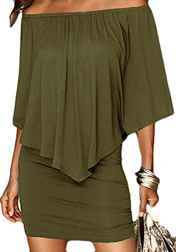 Green Dress Mini Bodycon Women's Solid Pleated Ruffles Off Party Shoulder Army Domple ZRP8zxwP