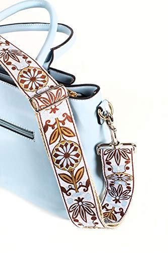 White Jacquard Woven Handbag & Purse Strap Replacement- Embroidered Guitar Strap Styled Shoulder Bag Strap - Adjustable Bag Strap For Tote Bag And Messenger Bags –Gold Hardware