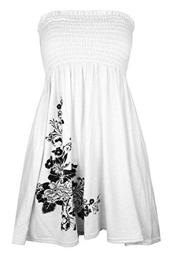 Sans Blanc 21fashion Taille Manche Noir Imprimé Unique Robe Femme 67EZ87xrn