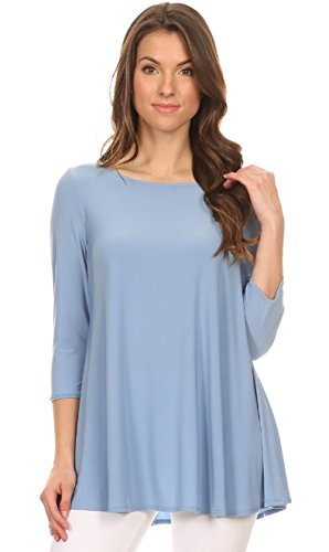 Love My Seamless Women's Relax Fit Round Neck 3/4 Sleeve Solid Tunic