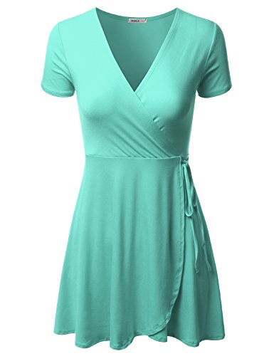 Mint Tie Waist Dress - Doublju Short Sleeve Surplice Wrap A-Line Dress for Women with Plus Size Mint 2XL