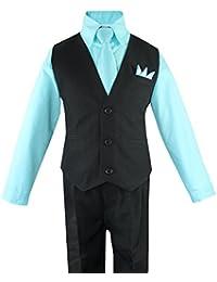 Toddler Boys' 4 Piece Vest Shirt Tie Pant and Hanky Set
