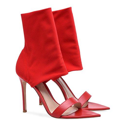en Club Mariage TLJ Transgenre Haut Mode Élastique Fête Soirée 44 Plateforme Sexy Talon Bottes KJJDE Red De Tissu Femme 084 1Twf8