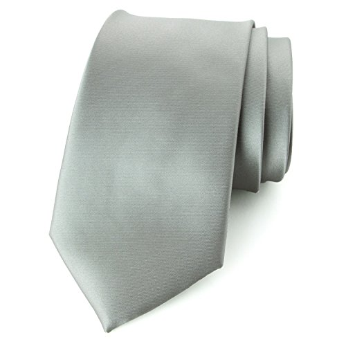 Spring Notion Men's Solid Color Satin Microfiber Tie, Regular Silver by Spring Notion